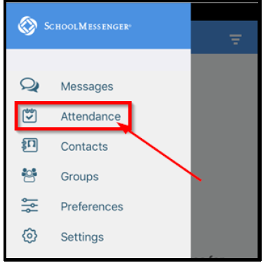 screen shot of attendance link