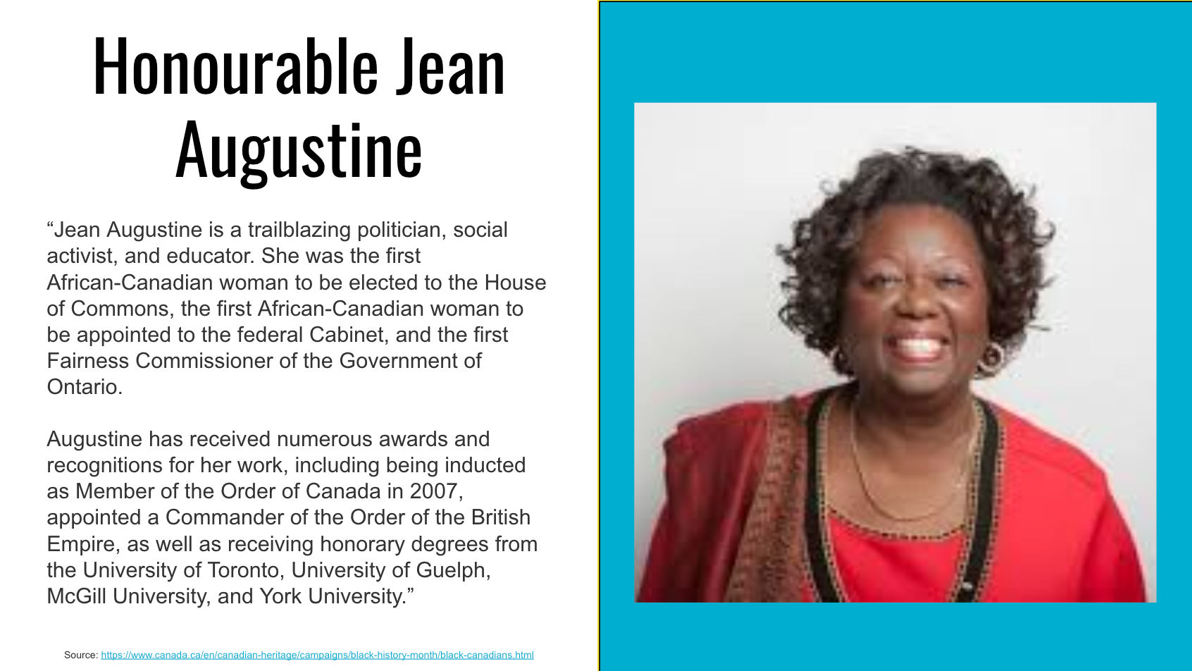 Honourable Jean Augustine