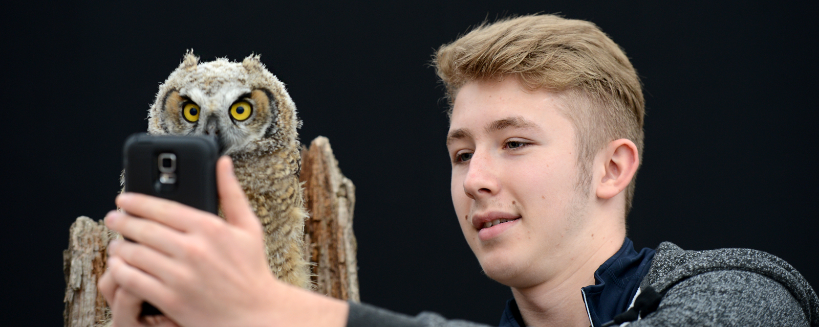 Teenage boy takeing a selfie with a baby owl
