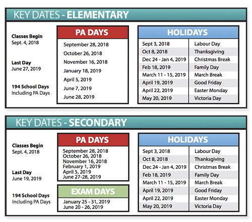 key dates of the 2018 2019 school year